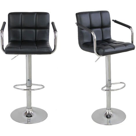 2Pcs SSJ-891 60-80cm 6 Checks Round Cushion Bar Stools with Armrest Black
