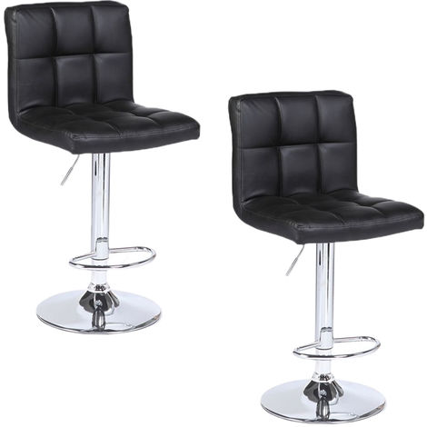 2pcs SSJ-891 60-80cm 6 Checks Round Cushion No Armrest Bar Stool Black