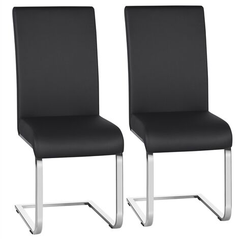 2pcs Stylish Dining Chairs Faux Leather W/Chrome Legs High Back Kitchen & Dining Room Black
