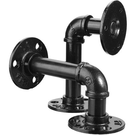 2pcs supports de tablette de tuyau Steampunk en acier industriel rétro bricolage plafond 9x13cm
