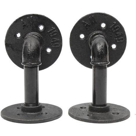 2pcs supports de tablette de tuyau Steampunk en acier industriel rétro bricolage plafond 9x13cm Sasicare