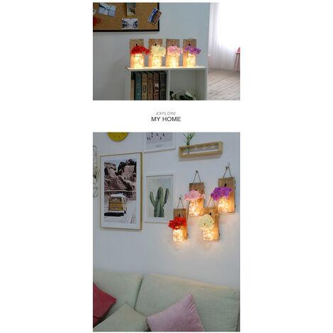 2Pcs Suspendu En Verre Mason Jars Led Guirlande Lumineuse Decoration Murale Plante En Plastique Decoratives Interieur De Lumieres Type 2