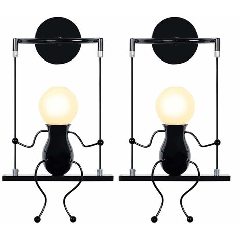 2pcs Swing Decor Ceiling Lamp Cartoon Human Shape Creative Wall Light Modern Metal Wall Lamp for Living Room Bedroom Children Room Black