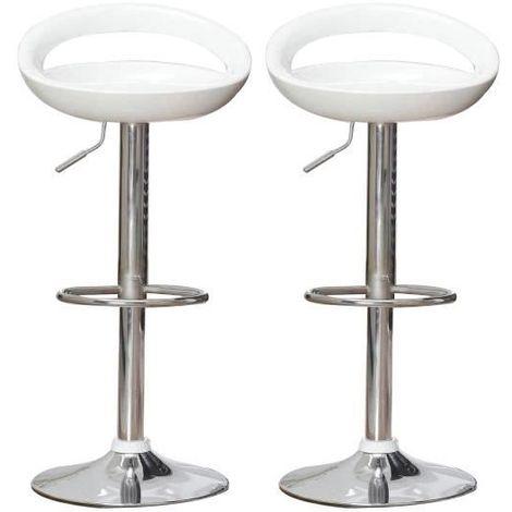 2PCS Tabouret haut pour bar et cuisine tournant réglable en hauteur pivotant avec repose-pieds