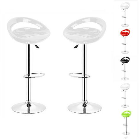 2PCS Tabouret haut pour bar et cuisine tournant réglable en hauteur pivotant avec repose-pieds | Blanc