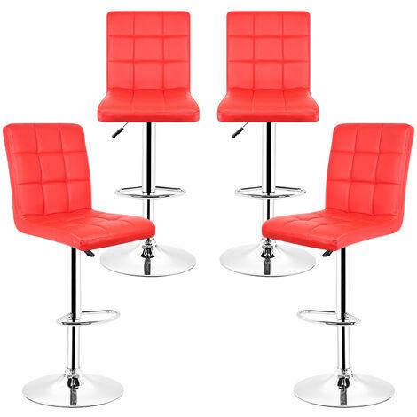 2Pcs Tabourets de bar Chaises ,rouge , réglable et pivotant ,avec repose-pieds