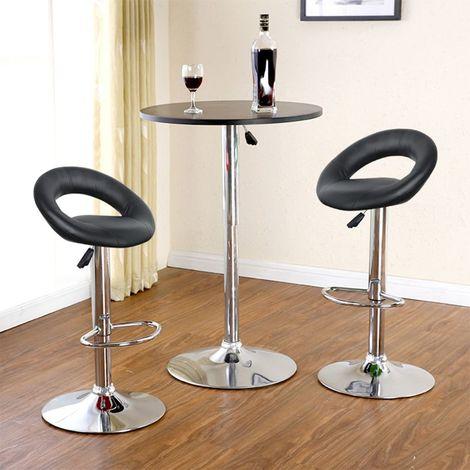 2Pcs Tabourets de bar haut Chaise de bar simili cuir PU chrome réglable -Noir