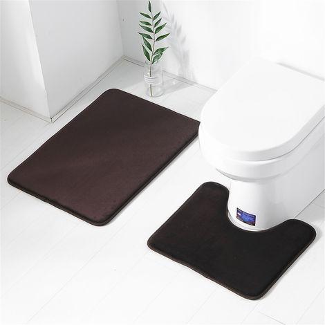 2pcs Tapis de Salle de Bain + Tapis de Toilette Mousse à Mémoire Anti-dérapant Absorbant Marron