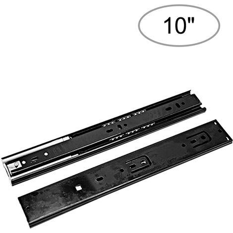 2pcs Tiroir Diapositives a faible bruit de roulement a billes Tiroir Diapositives 1 paire robuste tiroir diapositives Guide tiroir rail rail tiroir Damped Hydrauliquement, 10 pouces, 250 mm