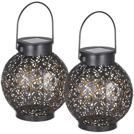 2pcs Tomshine Outdoor Solar Lantern Light Hollowed-out Design Decorative Metal Hanging LED Lights Sensitive Lighting Control Lamp