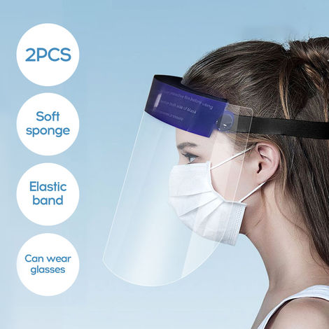 2Pcs Transparent Anti-fog Face Shield Wind-proof Dust-proof Face P-rotection Cover Kitchen Anti-oil Splash-proof Face Protector