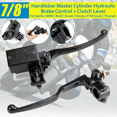 2pcs Universal 7/8 Inch 22mm Adjustable Handlebar Motorcycle Handlebar Master Cylinder Hydraulic Brake Control + Clutch Lever For Honda Yamaha Suzuki Kawasaki KTM