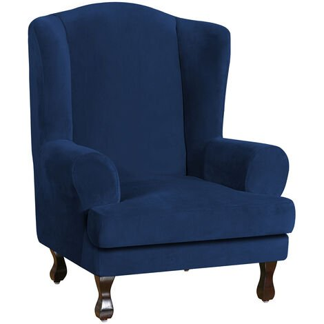 2PCS Velvet Elastic Armchair Cover Wingback All-inclusive Sloping Tiger Bench Wing Sofa Back Chair Covers (Navy blue,Type B)