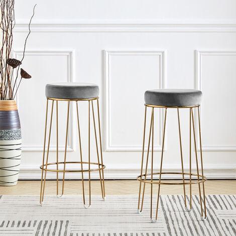 2pcs Velvet Round Breakfast Bar Stool High Seat Counter Dining Chairs Metal Legs, Grey