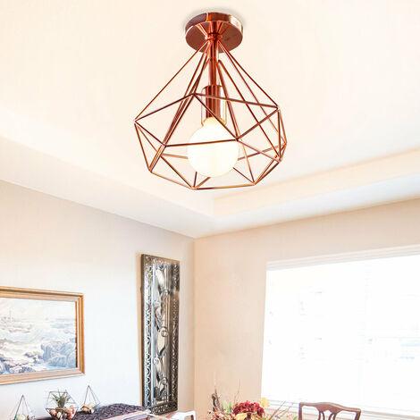2PCS Vintage Diamond Rose Gold Ceiling Lamp Cage Metal Industrial Ceiling Light Creative Chandelier 25CM