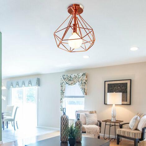 2pcs Vintage Diamond Rose Gold Ceiling Lamp Metal Cage Industrial Ceiling Light Creative Chandelier 25cm