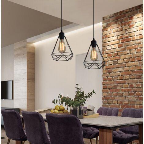 2PCS Vintage Luz Colgante 20CM Diamond Colgante de Luz Retro Industrial Lámpara Colgante de Altura Ajustable Lámpara Colgante para Sala de Estar Comedor Oficina Negra