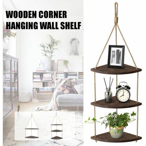 2PCS Wooden Rope Hanging Corner Wall Shelf Vintage Storage Organizer Rack Home Decor (2 Sorters)