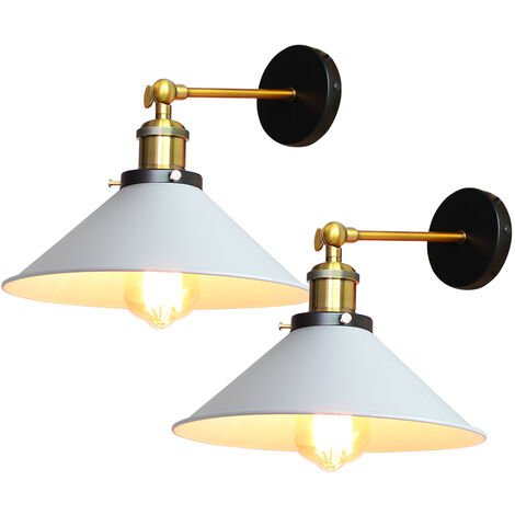 (2pcs)22cm Metal Iron Wall Lamp Industrial Ceiling Light White Retro Wall Sconce Vintage Wall Light