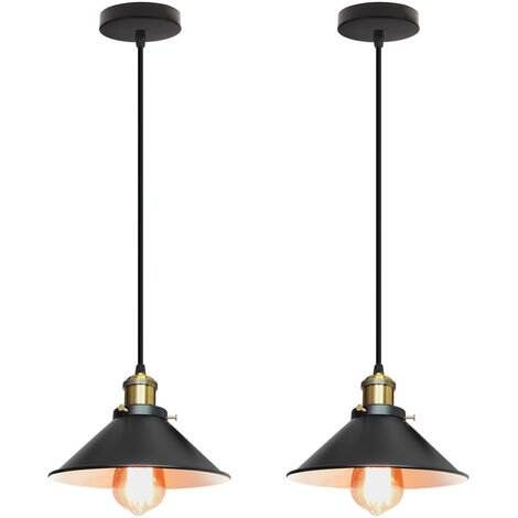 (2PCS)Antique Pendant Lamp Ø220mm Vintage Black Ceiling Light Retro Industrial Pendant Light E27 ,Creative Classic Hanging Light Classic Chandelier