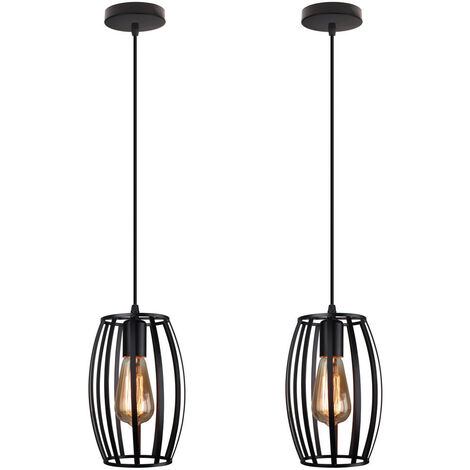 (2pcs)Vintage Chandelier Black Industrial Creative Pendant Light Cage Ceiling Lamp Retro Hanging Light Metal Iron Lamp Shade