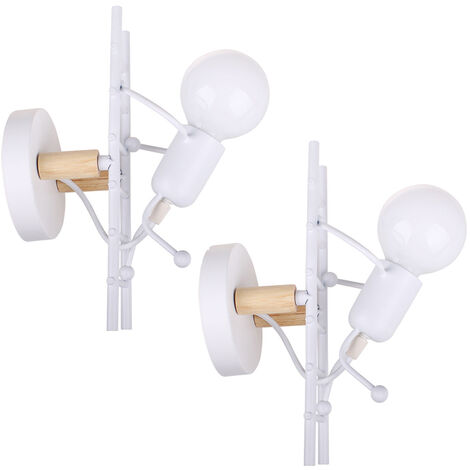 2pieces Modern Creative Art Chandelier Human Climbing Ladder Wall Light for Living Room Bedroom Cafe Bar White