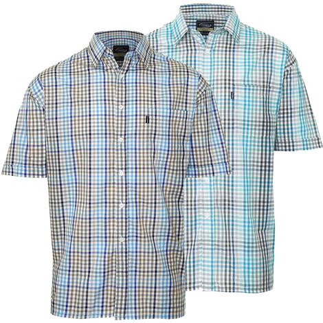2pk Mens Champion Kelso Country Style Casual Short Sleeved Shirt Blue Med