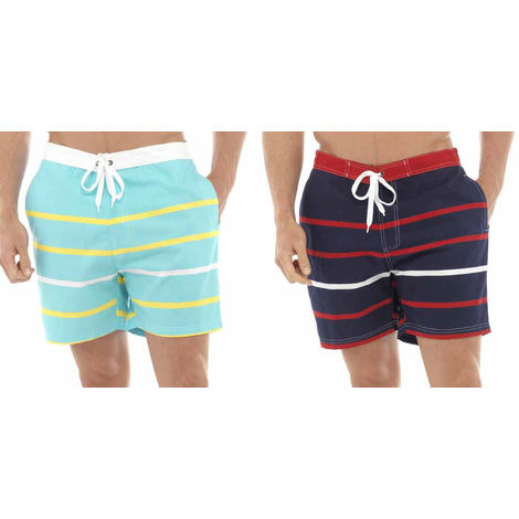2PK Tom Franks Multi Stripe Print Beach Pool Swimming Summer Shorts Large