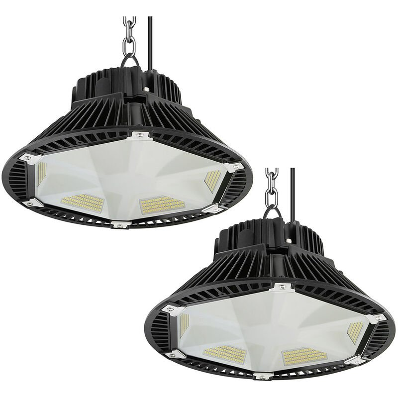 Anten - 2Pz Led Industriale Ufo 150W 6000K 19500 Lumen, IP65 Illuminazione a Sospensione Industriale, Faro Led Luce Bianco Fredda