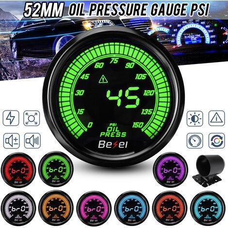 """2"""" 52mm Jauge de Pression d'huile LED Affichage Numérique w/ Capteur 0-150 PSI"""