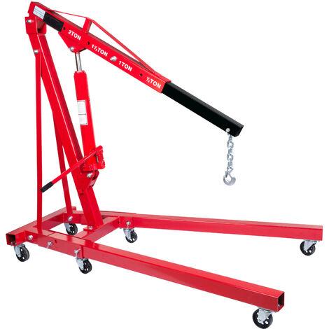 2T Heavy Duty Hydraulic Folding Workshop Engine Crane Hoist Lift Stand Wheels