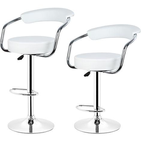 2*tabouret de Bar avec accoudoirs réglable Rotatif à 360°pour Salon blanc