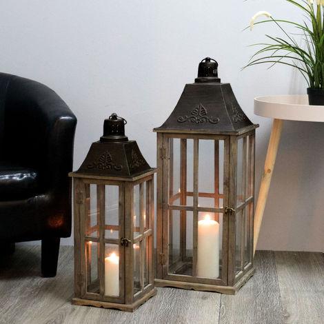 2tlg. Laternen Set H74/58cm Antikbraun - Windlicht Kerzenleuchter Kerzenhalter