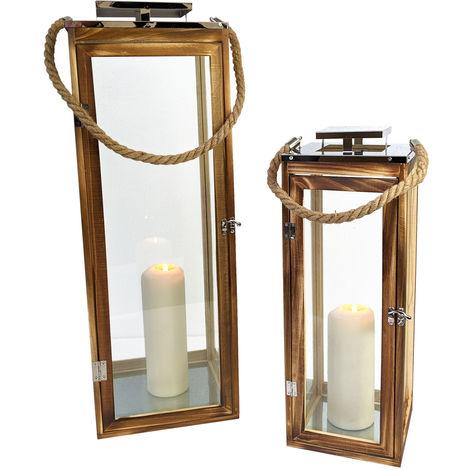 2tlg. Laternen-Set 'Seaside 2' H50/70cm mit Seil Henkel Natur/Silber Laterne Holzlaterne Kerzenhalter Windlicht