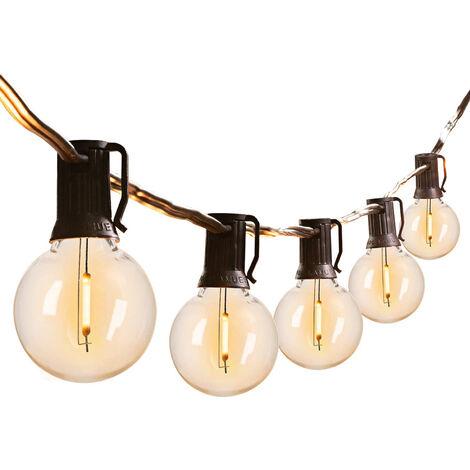 2W solar al aire libre luces de cadena de 11 pies con 10 PCS G40 bombillas LED colgante impermeable Comercial enciende 4 modos, blanco calido, 10 LED, E12 Socke