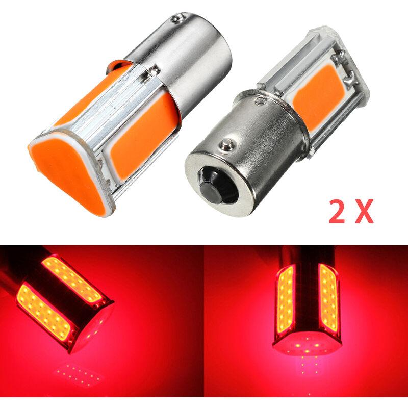 2X 1156 G18 Ba15s 4 COB LED rojo Luz de señal de giro Señal de giro trasera Lámpara de bombilla de coche D083 12V