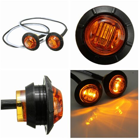 2x 12-24V LED Lámpara de señal lateral Luz de advertencia Remolque Caravana Izquierda Derecha Ámbar