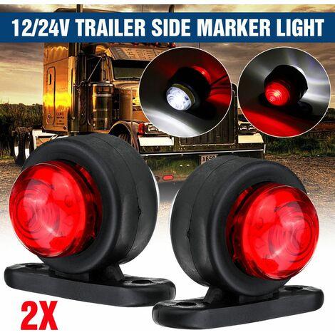 2x 12V 24V feu de gabarit latéral lampe de contour rouge blanc camion remorque caravane camion fourgon