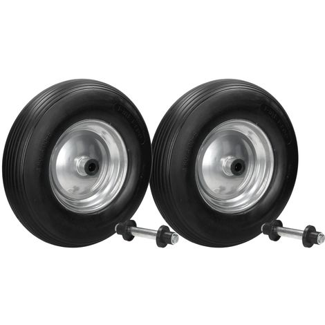 """2x 15"""" Rueda carretilla PU negro 4.80/4.00-8 con ejes tornillos diámetro 390 mm"""