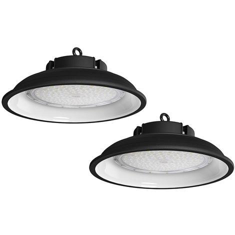 2X 150w Campana LED Industrial, 6000K UFO Led Lámpara de Alta Bahía, Iluminación Luces para Almacén Comercial Industrial (IP65, 13000Lm)