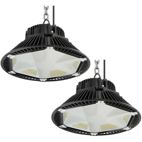 2X 200W UFO LED Industrial, 26000Lm UFO LED Alta Bahía Luz Iluminación para Almacén Comercial Industrial (IP65, 6000K)