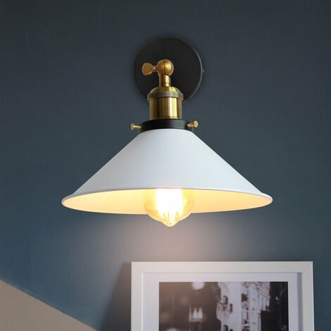 (2x) 22cm Metal Iron Wall Lamp White Industrial Ceiling Light Retro Wall Sconce Vintage Wall Light