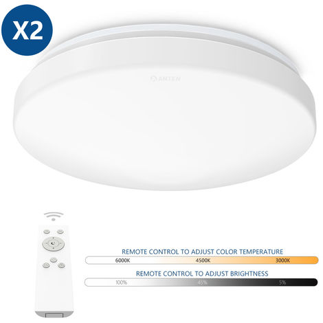 2X 24W Plafón LED de Techo Regulable en Intensidad y Cambio de Temperatura de Color con Control Remoto (Ø275 x 95 mm)