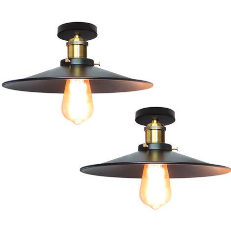 2x 26cm Lámpara de Techo Antigua Industrial Tapa de Metal Lámpara Colgante E27 60W para Sala de Estar Comedor Bar Cafetería Restaurante (Negro)