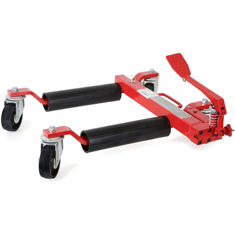 """2x 9"""" Car Wheel Dolly (2 Pieces, 680 kg Load capacity per unit, 630 mm Spread max., 285 mm Lifting height max.) Hydraulic positioning skates"""