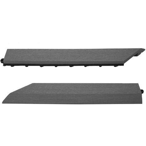 2x Abschlussleiste für WPC Bodenfliese Sarthe, Abschlussprofil, Holzoptik Balkon/Terrasse