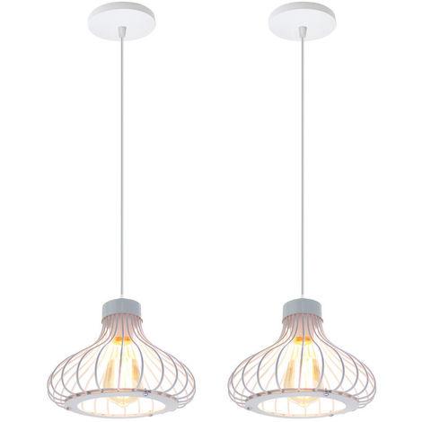 2x Altura Ajustable Luz de Techo Lámpara Colgante Industrial Vintage Lámpara Retro Creativa para Decoración de Interiores Dormitorio Cafe Bar Blanco