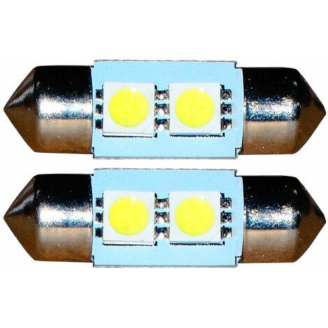 2x ampoule C5W 12V 2LED SMD blanc effet xénon 31mm navette éclairage intérieur plaque d'immatriculation seuils de porte plafonnier pieds lecteur de carte coffre compartiment moteur