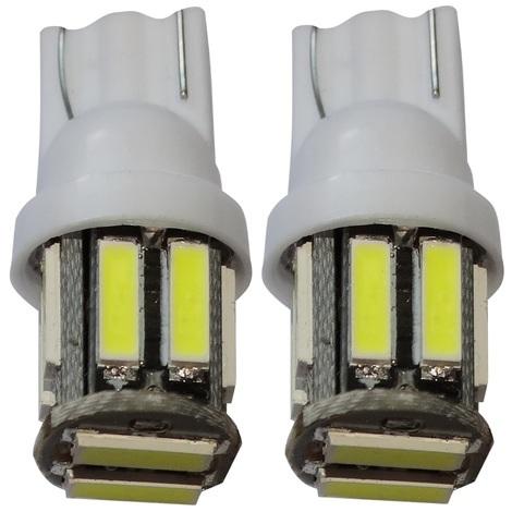 2x ampoule T10 W5W 12V 10LED SMD blanc effet xénon veilleuses éclairage intérieur seuils de porte plafonnier pieds lecteur de carte coffre compartiment moteur