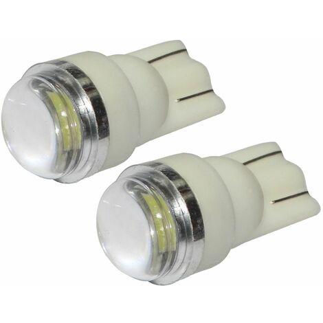 2x ampoule T10 W5W 12V 2LED SMD FLOOD blanc effet xénon veilleuses éclairage intérieur seuils de porte plafonnier pieds lecteur de carte coffre compartiment moteur